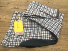 LIMITED AVAILABILITY - HKM CHECK FULL SEAT BREECHES - GREY SKY - RRP £59.99 SALE